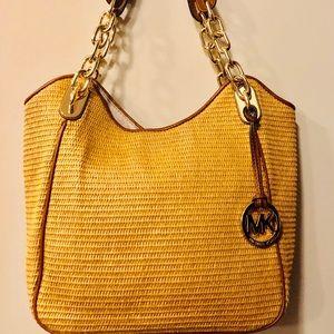 2a426fc11d8ad0 Michael Kors. Michael Kors Lilly Straw Tote Bag-Like New